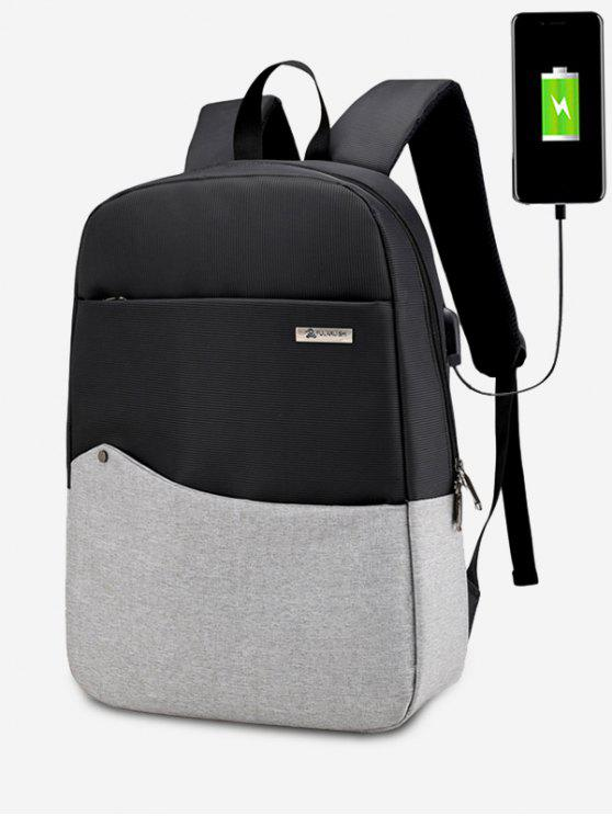 affordable Rivet Color Block USB Charging Port Backpack - GRAY