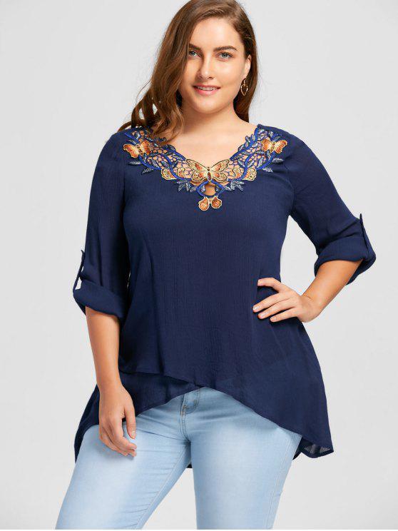 chic Plus Size Appliqued V Neck Overlap Blouse - CADETBLUE 5XL