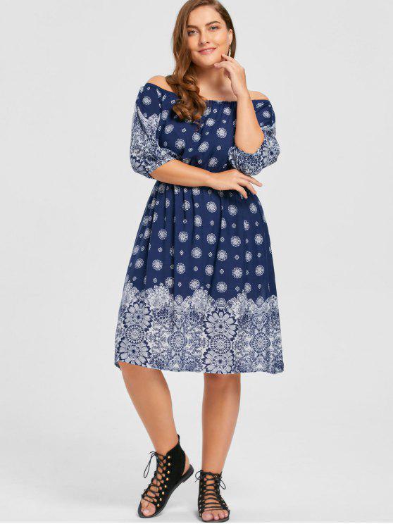 Plus Size Floral Off The Shoulder Bohemian Dress PURPLISH BLUE