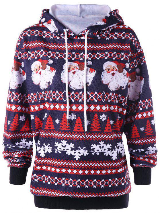 sale Christmas Plus Size Drawstring Neck Hoodie - COLORMIX 3XL