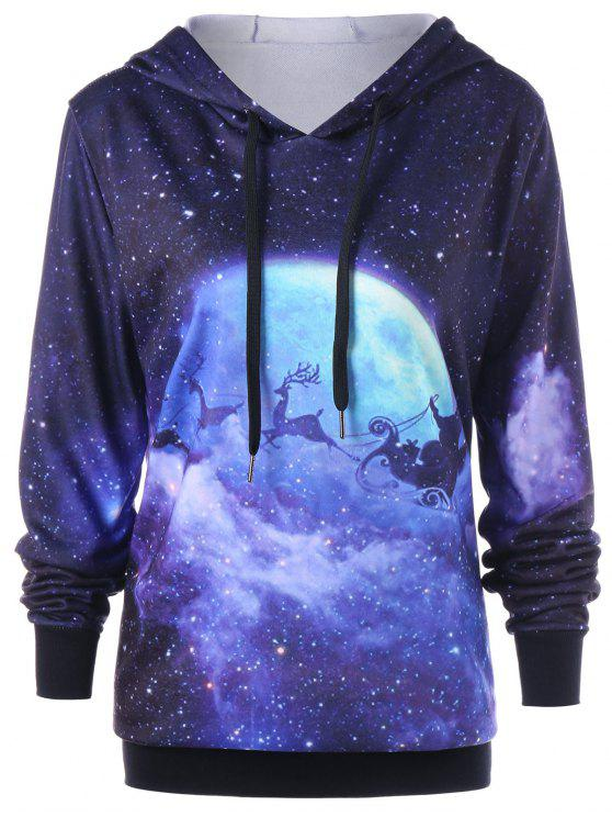 best Christmas Plus Size Galaxy Reindeer Hoodie - COLORMIX XL