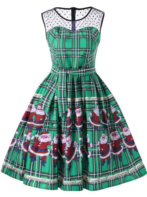 فستان سوينغ كريسماس منقوش - أخضر L