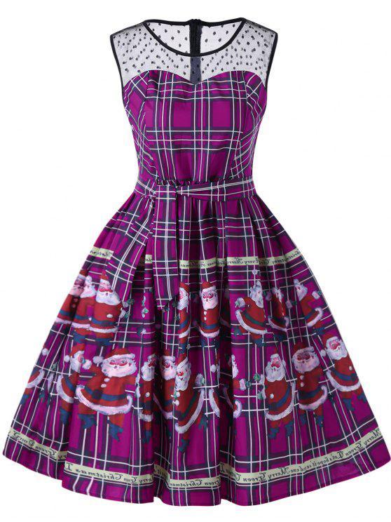 affordable Christmas Santa Claus Sheer Swing Dress - PURPLE 2XL