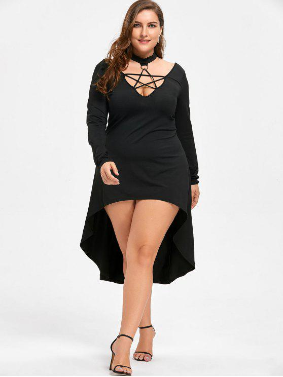Halloween Plus Size Lace Up Cocktail Dress Black Plus Size Dresses