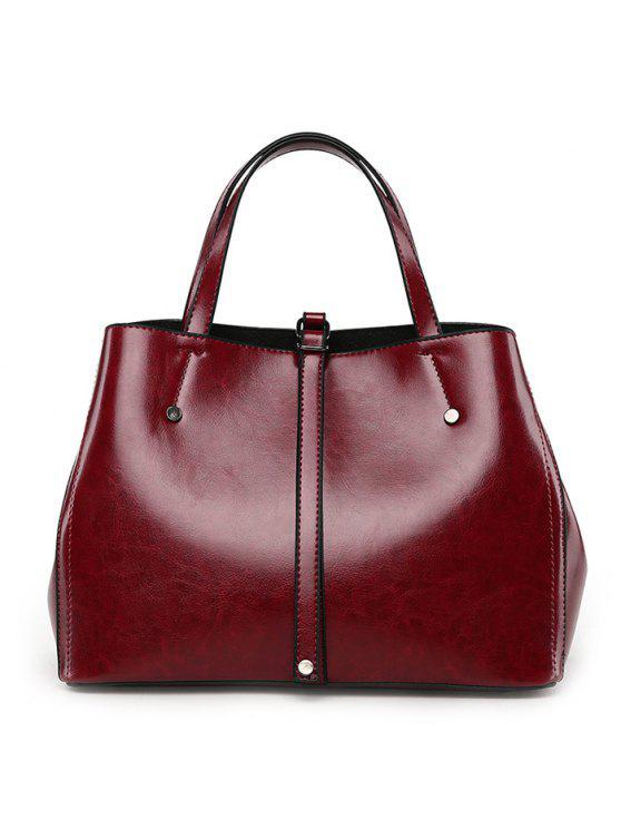 المسامير مشبك حزام حقيبة يد مع حزام - نبيذ أحمر
