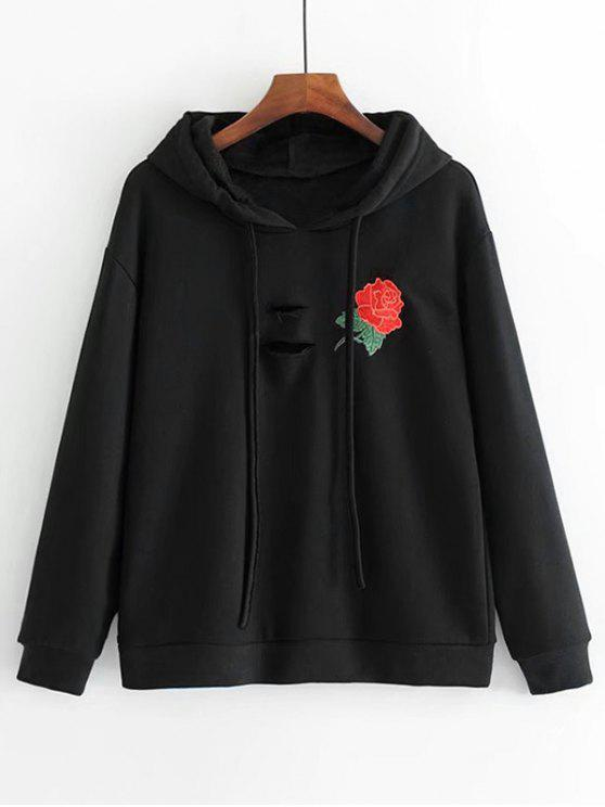 hot Distressed Rose Embroidered Hoodie - BLACK L