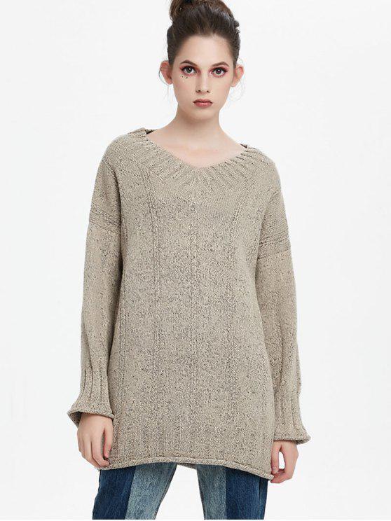 6d349d45d2cf 2019 Drop Shoulder Longline V Neck Sweater In APRICOT ONE SIZE