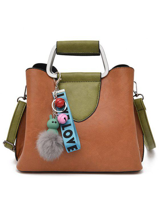 لون كتلة رسالة بومبوم حقيبة يد - BROWN