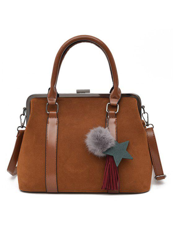 حقيبة سحر بومبوم شرابة يد مع ستاب - BROWN