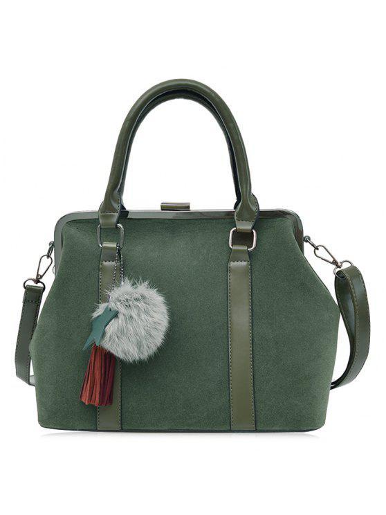 حقيبة سحر بومبوم شرابة يد مع ستاب - أخضر