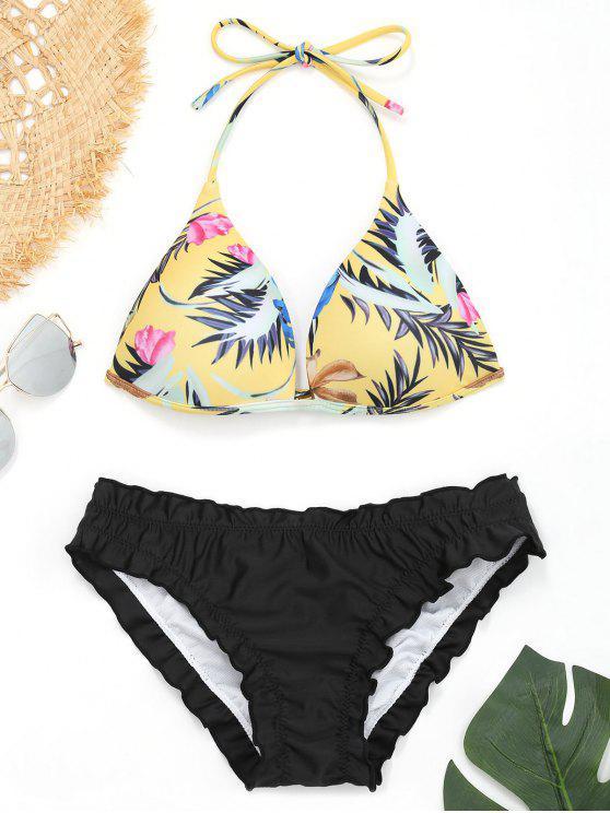 lady Push Up Leaf Print Ruffles Bikini - BLACK L
