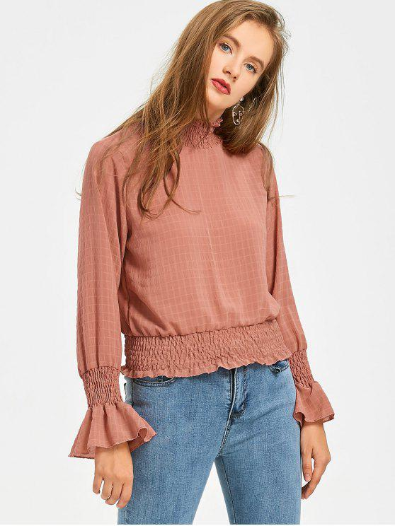 womens Smocked Flare Sleeve Checked Blouse - TERRACOTTA S