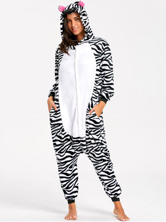 Pijama de Animal Onesie de raya cebra - Negro Blanco XL