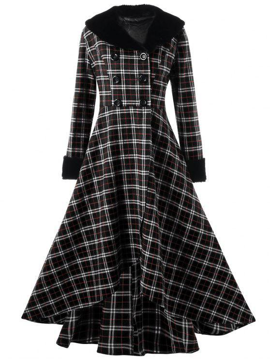 Manteau Trapèze Grande Taille à Double Bouotnnage à Carreaux - Noir 3XL