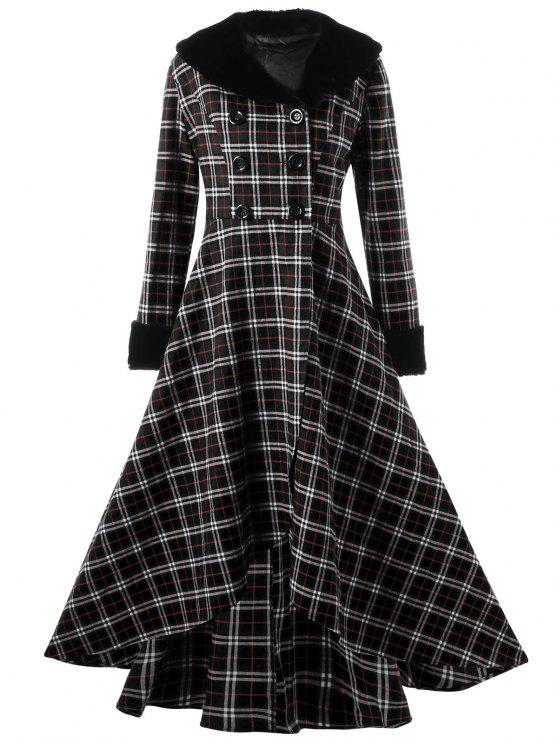 Plus Size Zweireihiger Plaid Swing Coat - Schwarz 4XL