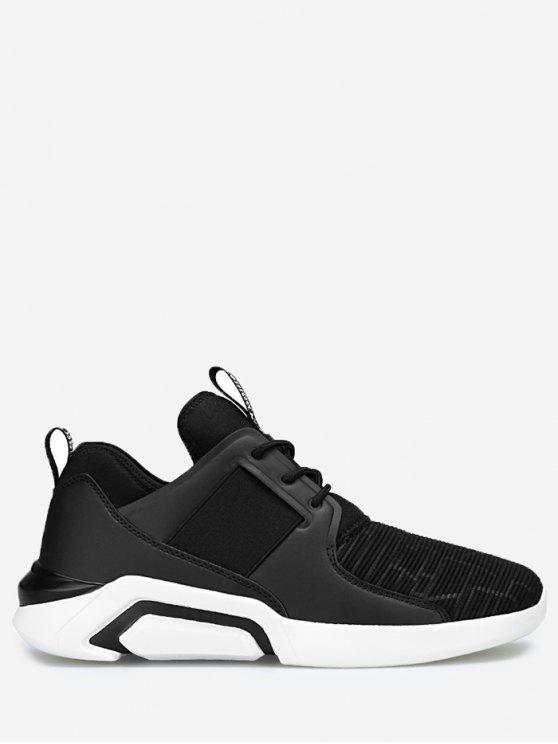 hot Elastic Vamp Low Top Athletic Shoes - BLACK 43