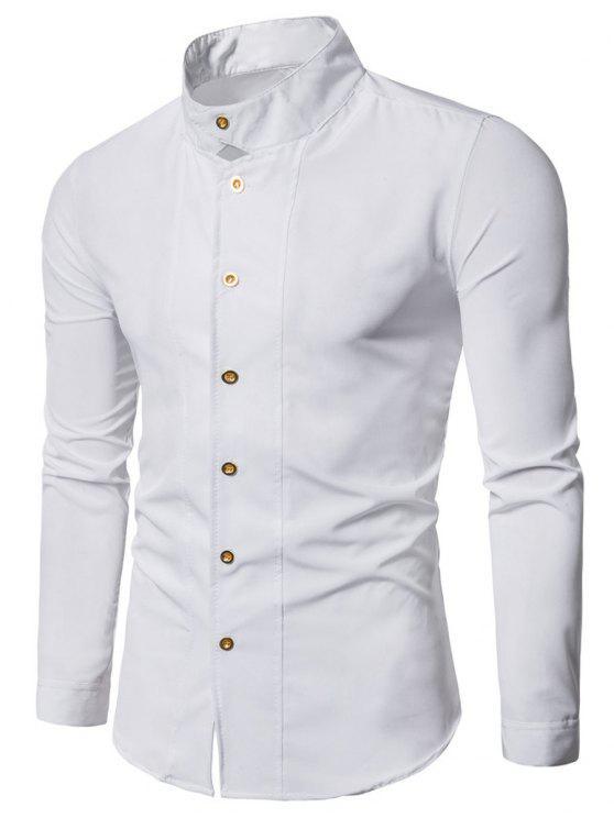 Camicia Con Colletto Dritto E Maniche Lunghe Casual - Bianca XL