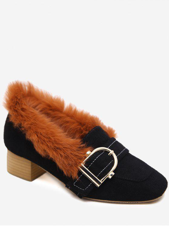 best Buckled Faux Fur Trim Suede Pumps - BLACK 35