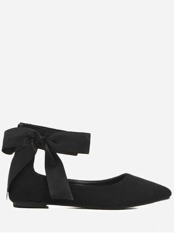 Bowknot Ribbon Point Toe Cheville Wrap Flats - Noir 37