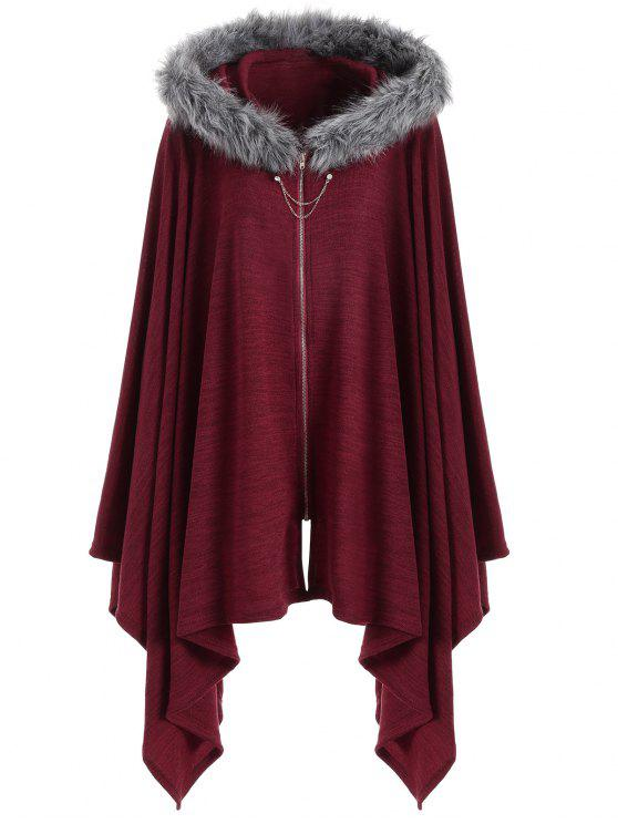 38d49eea938 38% OFF  2019 Asymmetric Faux Fur Panel Plus Size Cape Coat In WINE ...