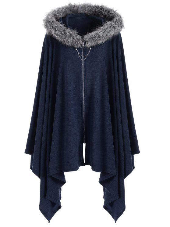 Asymmetric Faux Fur Panel Plus Size Cape Coat - Azul 2XL