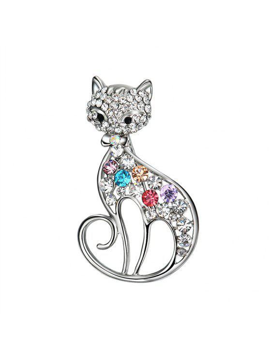 حجر الراين بأمتصاص القط بروش - فضة