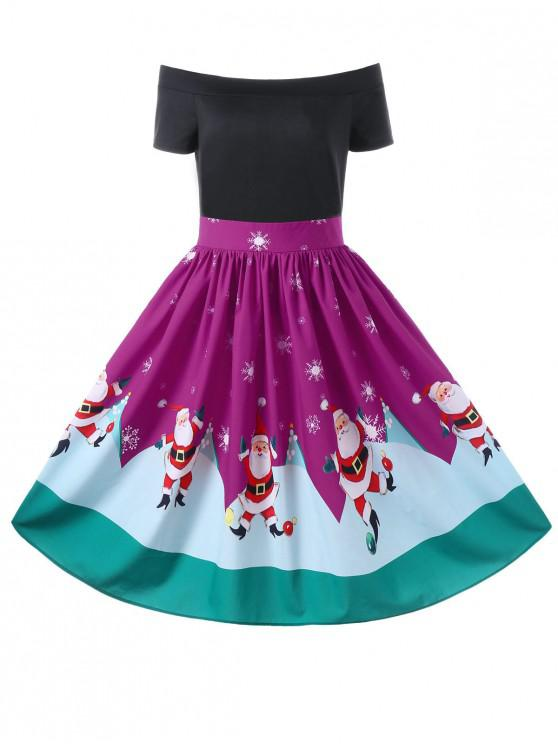 outfits Christmas Off The Shoulder Swing Dress - PURPLE L