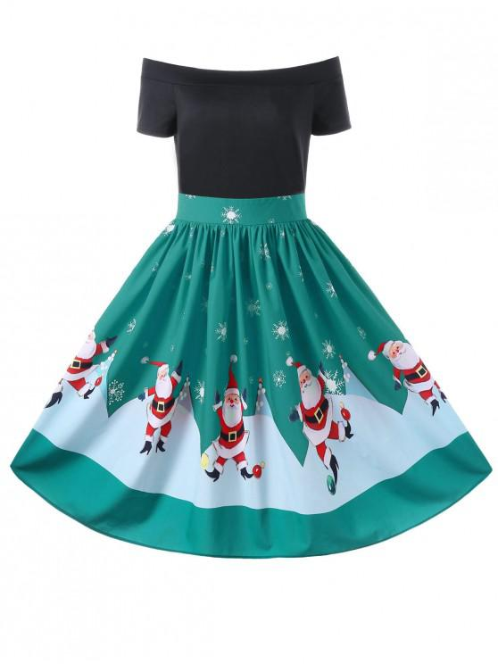 online Christmas Off The Shoulder Swing Dress - GREEN L