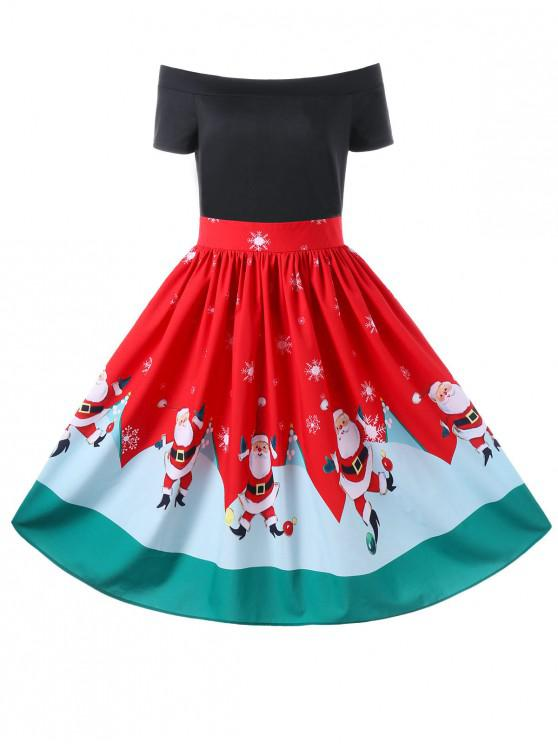 shops Christmas Off The Shoulder Swing Dress - RED XL
