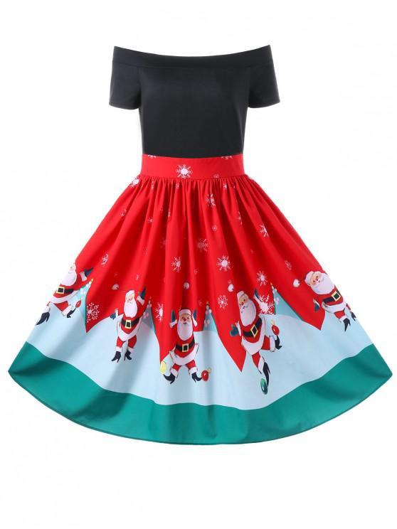 Robe Trapèze de Noël à Épaules Dénudées - Rouge 2XL