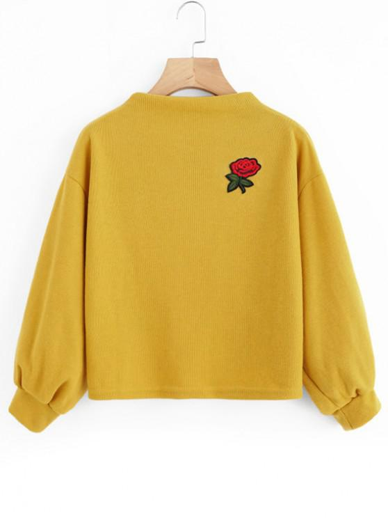 ZAFUL Sweat-shirt Patch Rose Brodée à Manches Lanternes - Moutarde Taille Unique