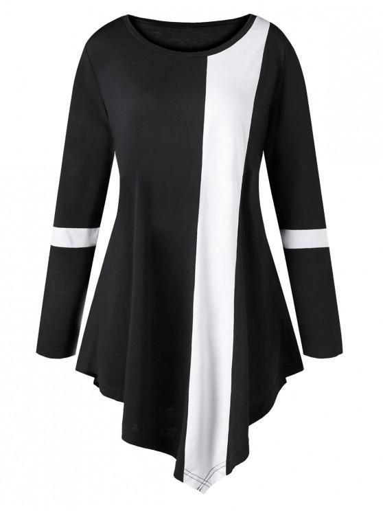 ladies Plus Size Two Tone Color Asymmetric Long Top - BLACK XL