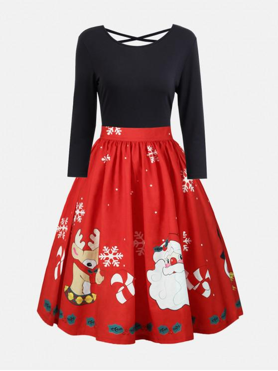 buy Plus Size Christmas Print Criss Cross Dress - RED 3XL