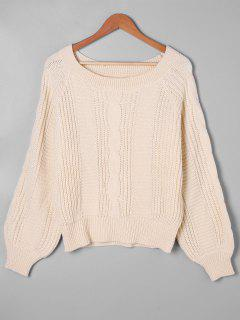 Balloon Sleeve Cable Knit Sweater - Apricot S
