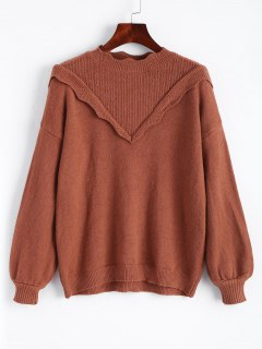 Ruffles Scalloped Pullover Sweater - Light Brown