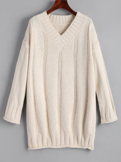 Long Rolled Cuff V Neck Pullover Sweater - Light Apricot
