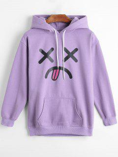 Fleece Emoji Graphic Hoodie - Purple M
