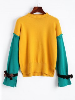 Side Slit Two Tone Pullover Sweater - Mustard