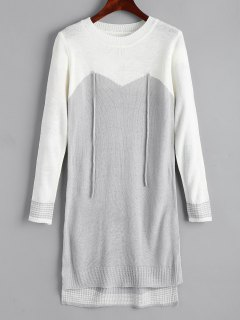 High Low Two Tone Sweater Dress - Grey And White