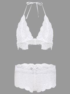 Unlined Halter Lace Bra Set - White M