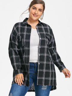 High Low Longline Plus Size Plaid Shirt - Black 4xl