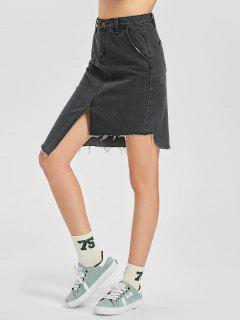 Frayed Hem Asymmetric Skirt - Black Grey M