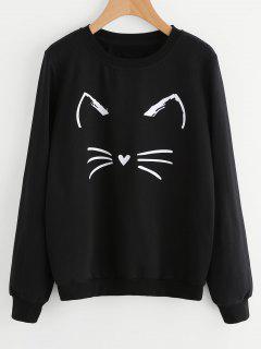 Cute Cat Graphic Sweatshirt - Black M