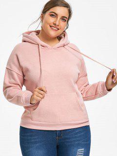 Kangaroo Pocket Flocking Plus Size Hoodie - Shallow Pink 4xl