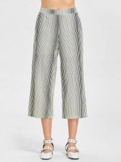 Pantalon Large Rayé à Taille Haute - Rayure