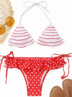 Frilled Polka Dot String Bikini Set - Red With White L