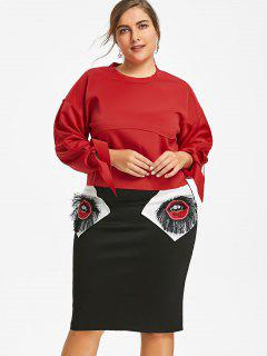 Tied Sleeve Plus Size Top With Lips Patch Skirt - Black And Red 3xl
