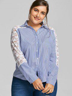 Camisa De Corte Alto Con Rayas En El Panel De Encaje Bajo - Raya 2xl