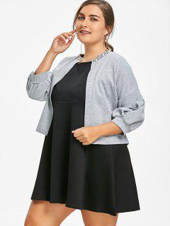 Sleeveless Plus Size Dress With Crop Jacket - Black And Grey 2xl