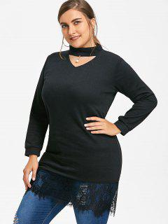 Plus Size Lace Panel Choker Top - Black 4xl